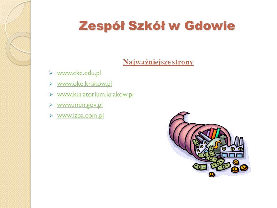 Zespół Szkół w Gdowie Najważniejsze strony www.cke.edu.pl