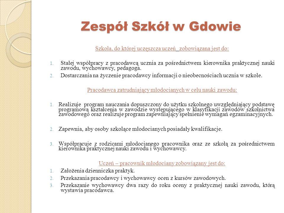 Zespół Szkół w Gdowie Szkoła, do której uczęszcza uczeń zobowiązana jest do: