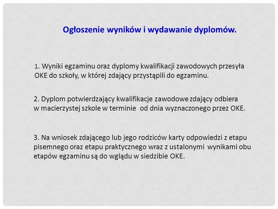 Ogłoszenie wyników i wydawanie dyplomów.