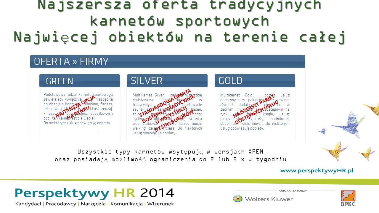 Najszersza oferta tradycyjnych karnetów sportowych Najwięcej obiektów na terenie całej Polski