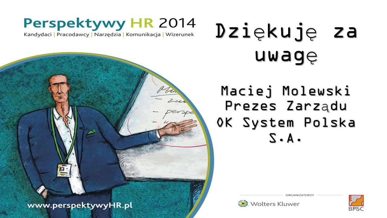 Dziękuję za uwagę Maciej Molewski Prezes Zarządu OK System Polska S.A.