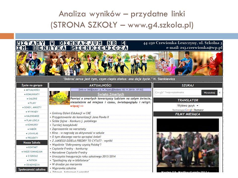 Analiza wyników – przydatne linki (STRONA SZKOŁY – www.g4.szkola.pl)