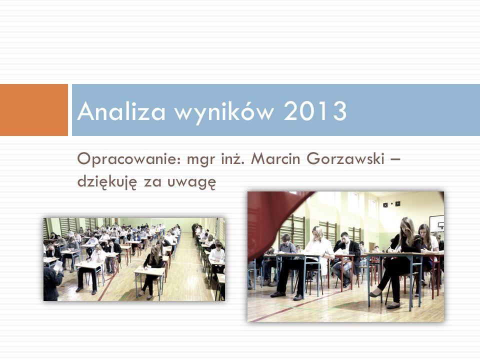 Analiza wyników 2013 Opracowanie: mgr inż. Marcin Gorzawski – dziękuję za uwagę