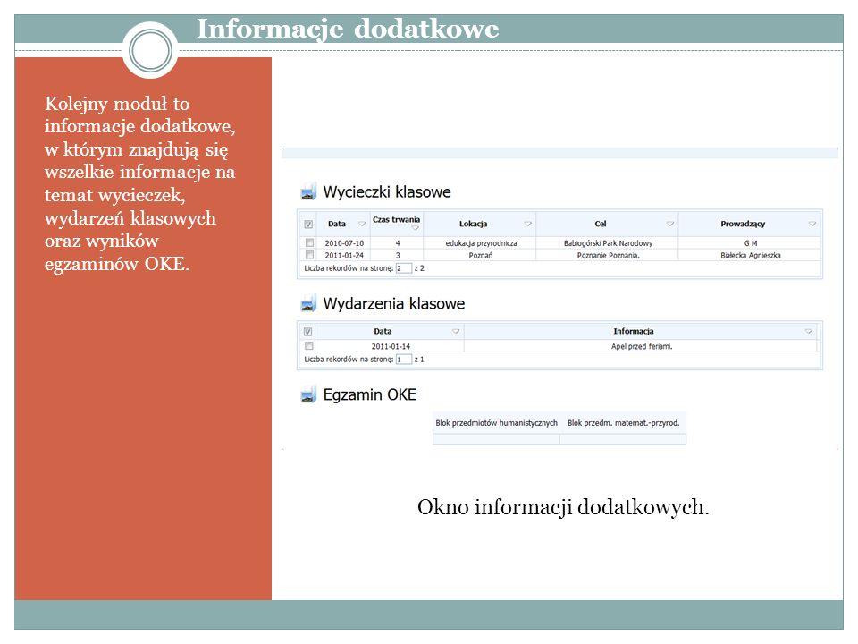 Informacje dodatkowe Okno informacji dodatkowych.