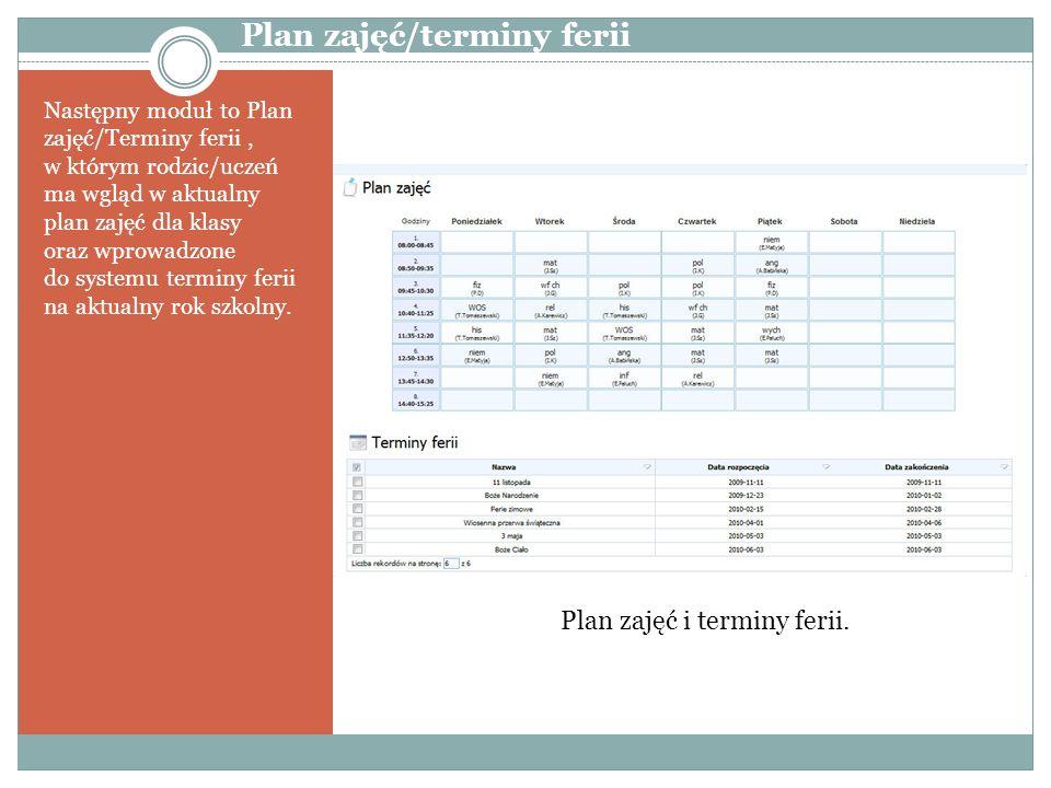 Plan zajęć/terminy ferii