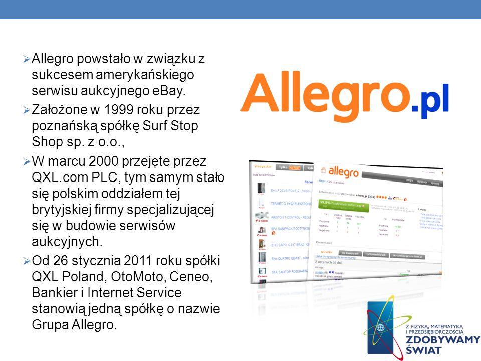 Allegro powstało w związku z sukcesem amerykańskiego serwisu aukcyjnego eBay.