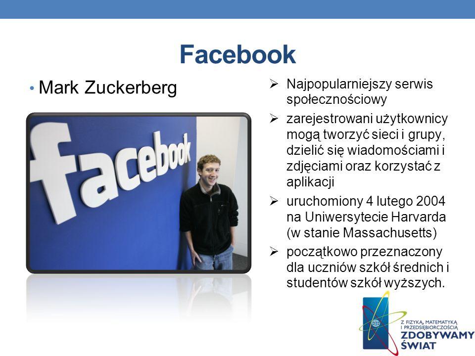 Facebook Mark Zuckerberg Najpopularniejszy serwis społecznościowy