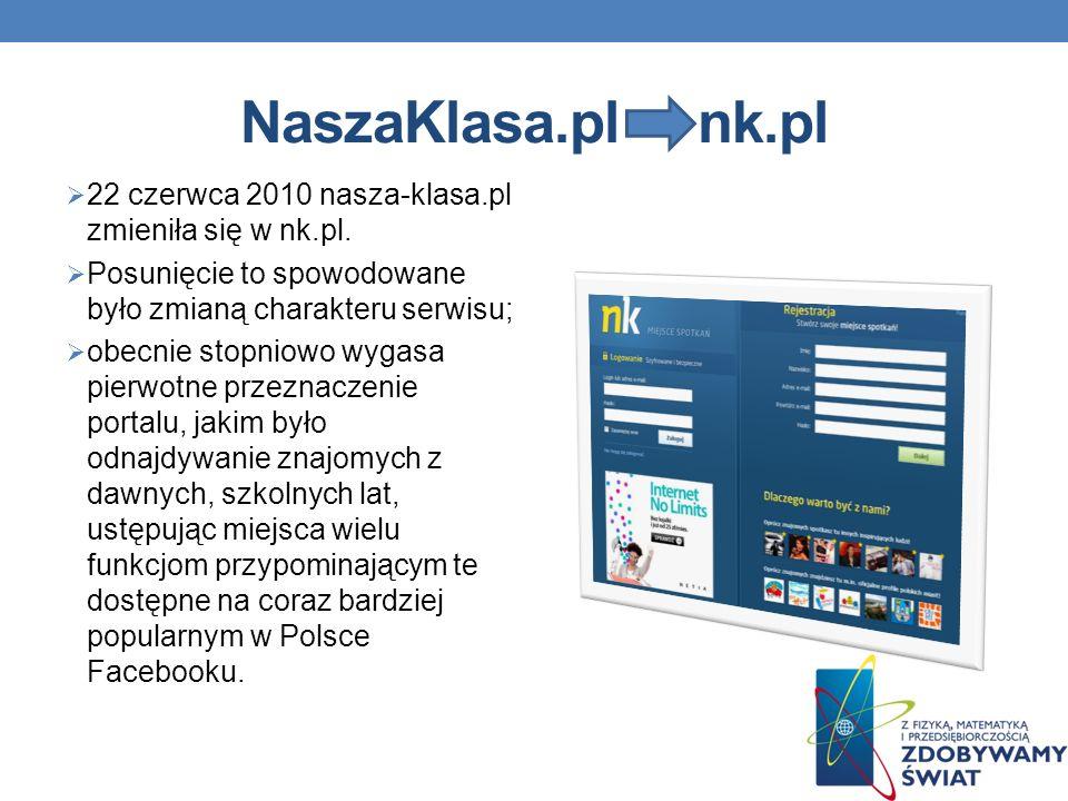 NaszaKlasa.pl nk.pl 22 czerwca 2010 nasza-klasa.pl zmieniła się w nk.pl. Posunięcie to spowodowane było zmianą charakteru serwisu;