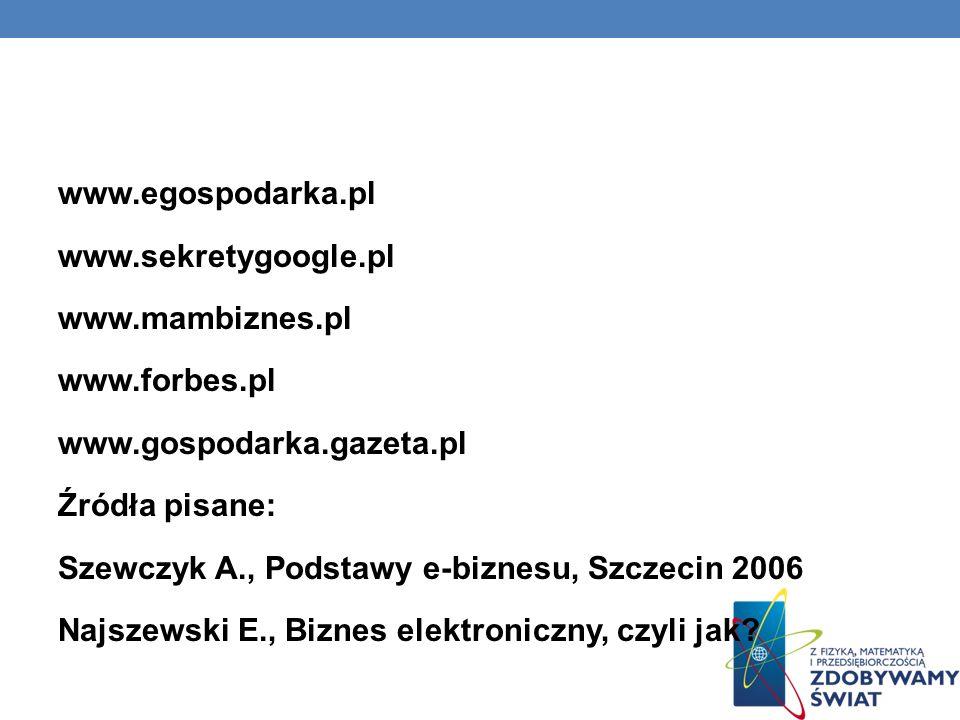 www. egospodarka. pl www. sekretygoogle. pl www. mambiznes. pl www