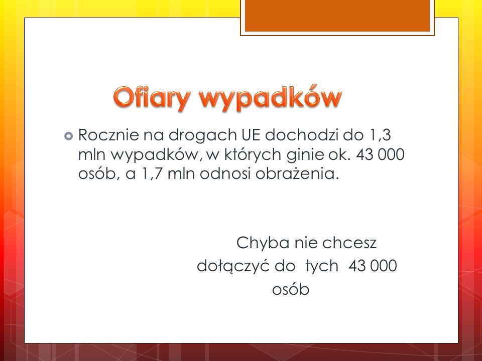 Ofiary wypadków Rocznie na drogach UE dochodzi do 1,3 mln wypadków, w których ginie ok. 43 000 osób, a 1,7 mln odnosi obrażenia.
