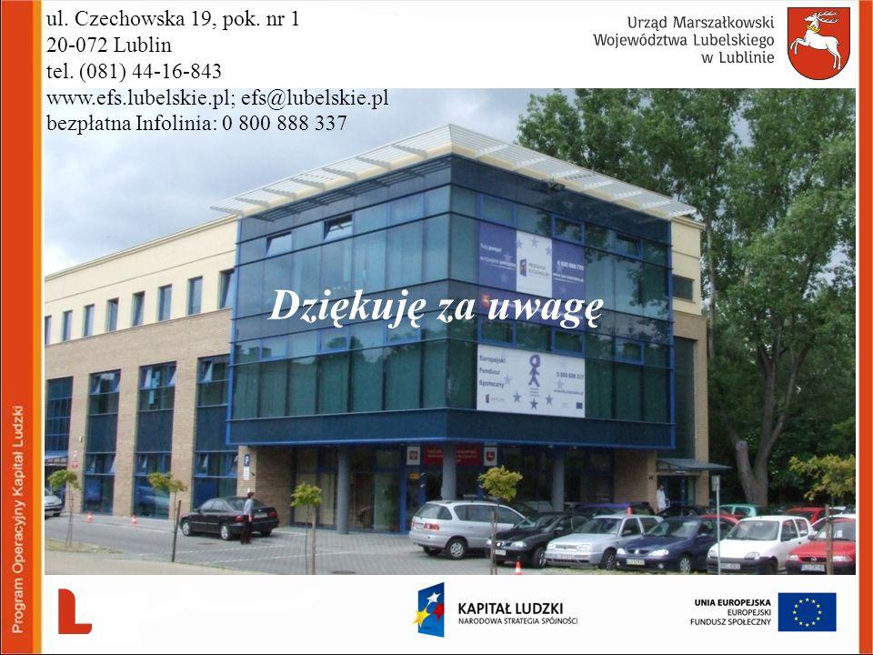 Dziękuję za uwagę ul. Czechowska 19, pok. nr 1 20-072 Lublin