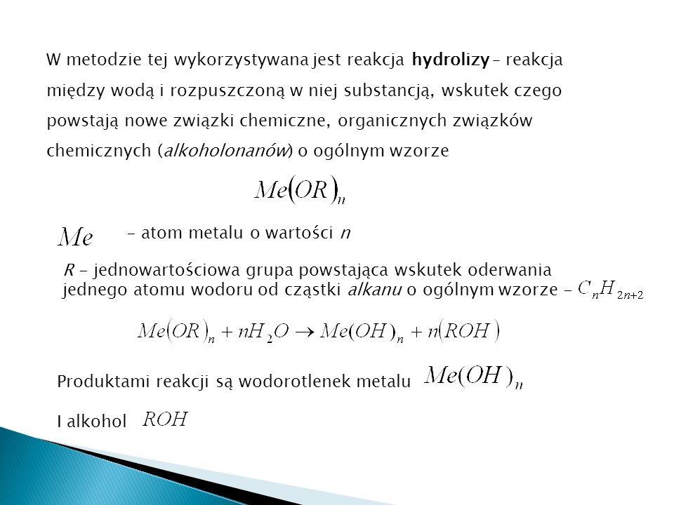 W metodzie tej wykorzystywana jest reakcja hydrolizy – reakcja między wodą i rozpuszczoną w niej substancją, wskutek czego powstają nowe związki chemiczne, organicznych związków chemicznych (alkoholonanów) o ogólnym wzorze