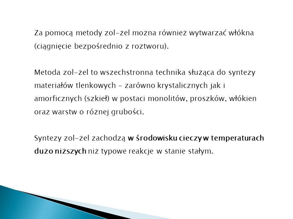 Za pomocą metody zol-żel można również wytwarzać włókna (ciągnięcie bezpośrednio z roztworu).