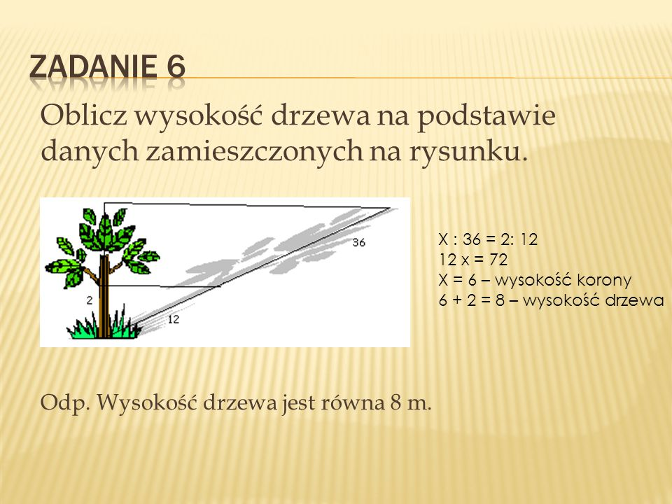Zadanie 6 Oblicz wysokość drzewa na podstawie danych zamieszczonych na rysunku. Odp. Wysokość drzewa jest równa 8 m.