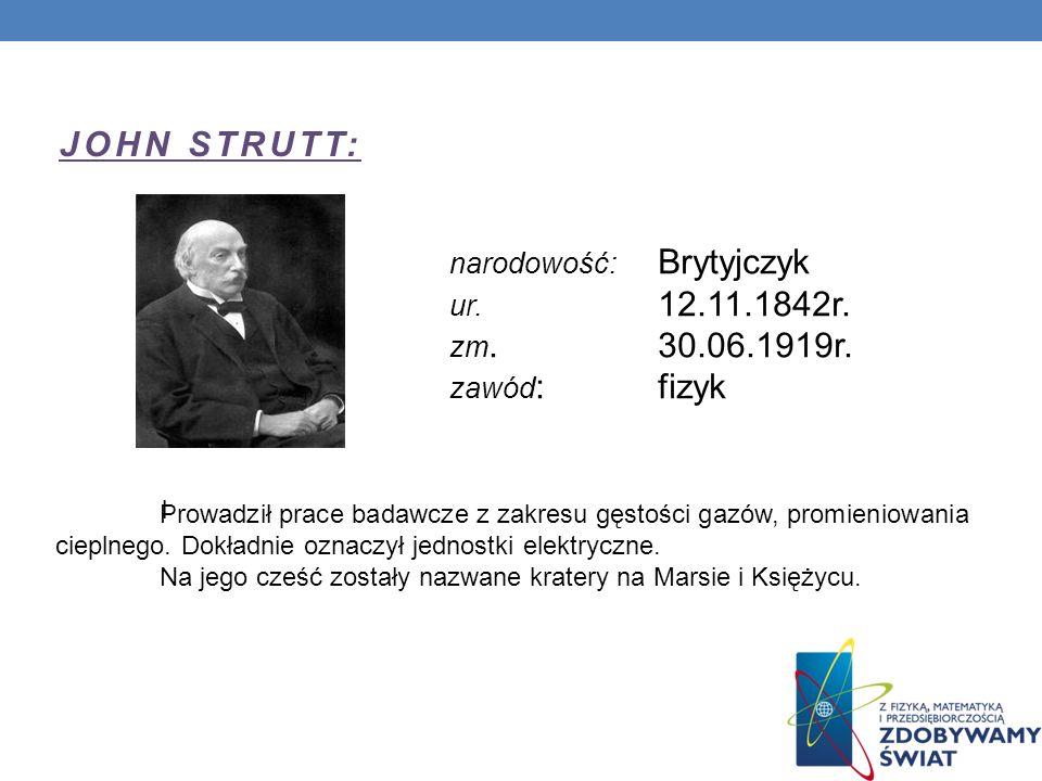 JOHN STRUTT: narodowość: Brytyjczyk ur. 12.11.1842r. zm. 30.06.1919r.
