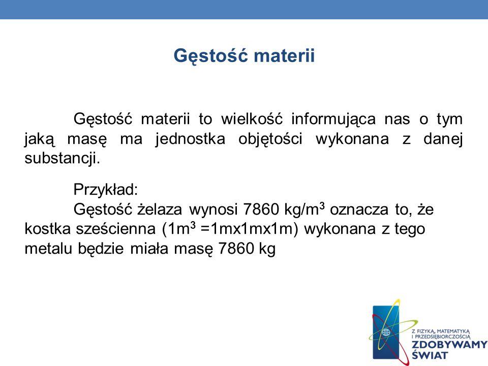 Gęstość materii Gęstość materii to wielkość informująca nas o tym jaką masę ma jednostka objętości wykonana z danej substancji.