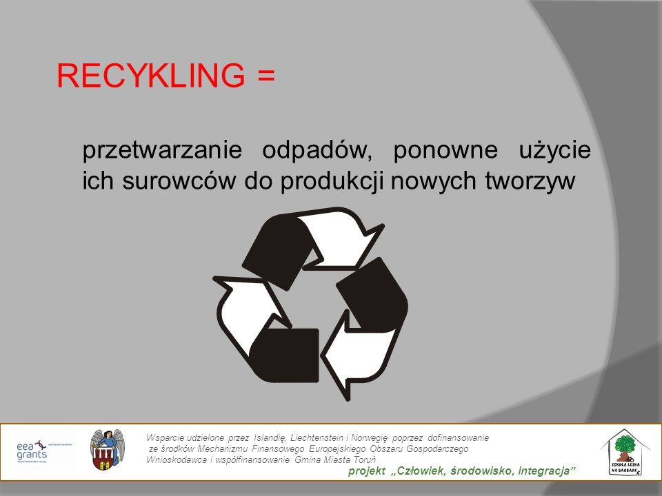 RECYKLING = przetwarzanie odpadów, ponowne użycie ich surowców do produkcji nowych tworzyw.