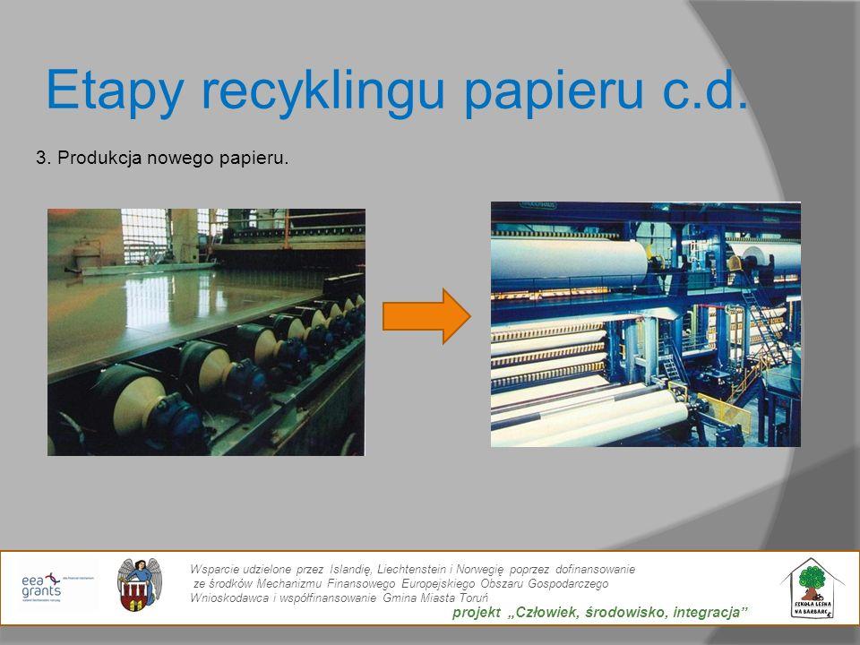 Etapy recyklingu papieru c.d.