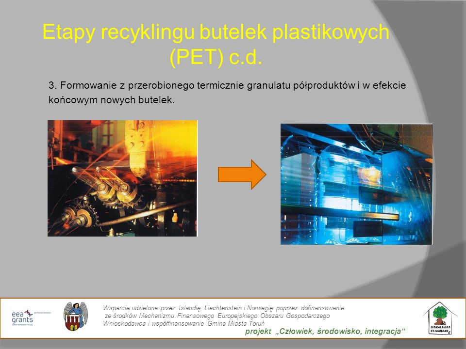 Etapy recyklingu butelek plastikowych (PET) c.d.