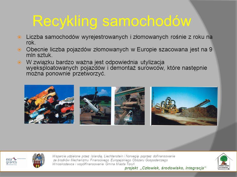 Recykling samochodów Liczba samochodów wyrejestrowanych i złomowanych rośnie z roku na rok.