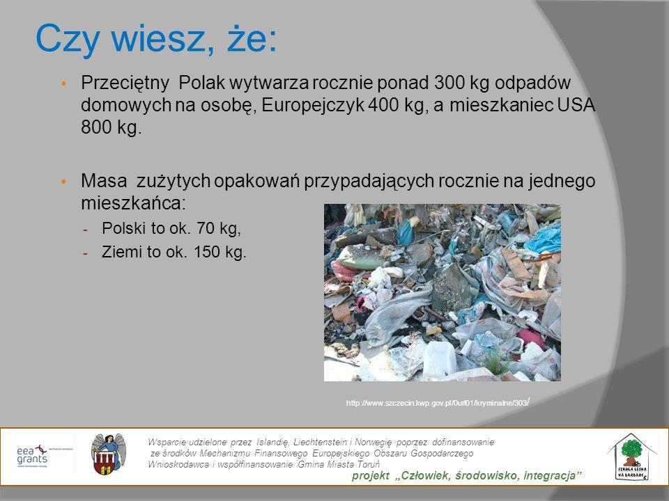 Czy wiesz, że: Przeciętny Polak wytwarza rocznie ponad 300 kg odpadów domowych na osobę, Europejczyk 400 kg, a mieszkaniec USA 800 kg.