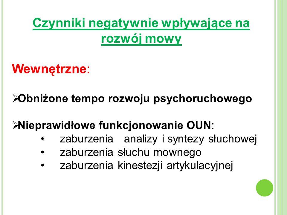 Czynniki negatywnie wpływające na rozwój mowy