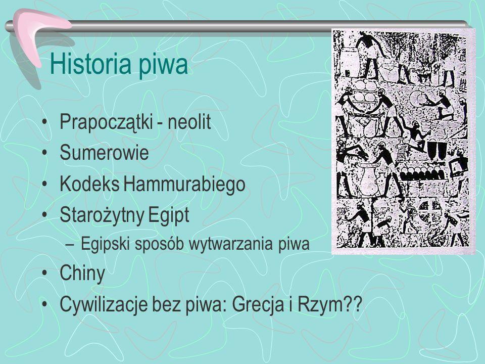 Historia piwa Prapoczątki - neolit Sumerowie Kodeks Hammurabiego