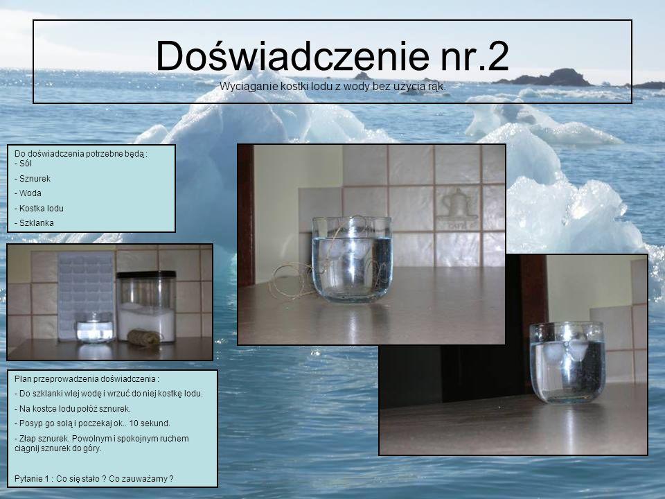 Doświadczenie nr.2 Wyciąganie kostki lodu z wody bez użycia rąk.