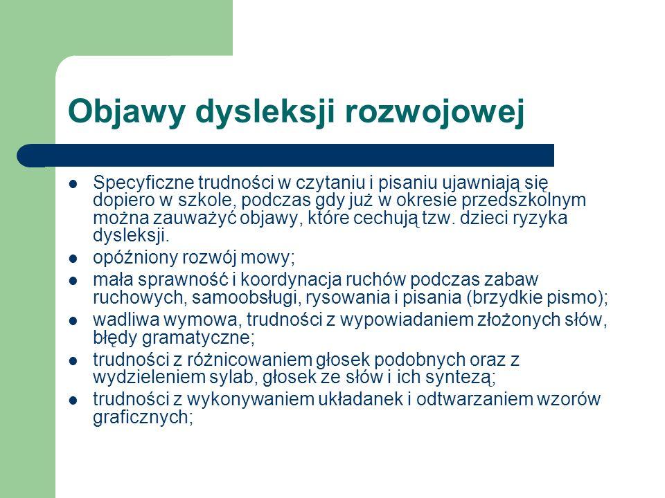Objawy dysleksji rozwojowej