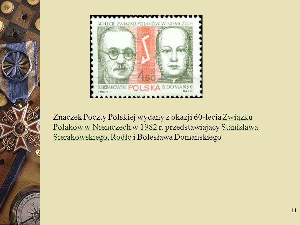 Znaczek Poczty Polskiej wydany z okazji 60-lecia Związku Polaków w Niemczech w 1982 r.