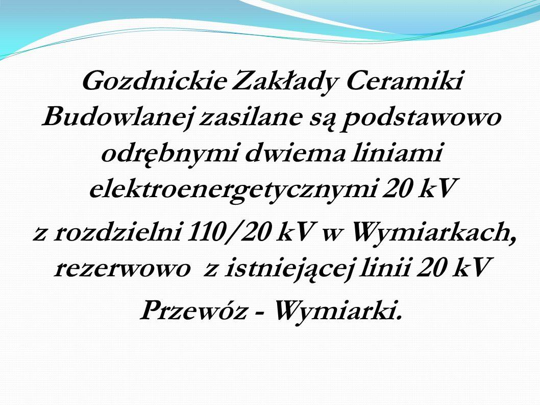 Gozdnickie Zakłady Ceramiki Budowlanej zasilane są podstawowo odrębnymi dwiema liniami elektroenergetycznymi 20 kV