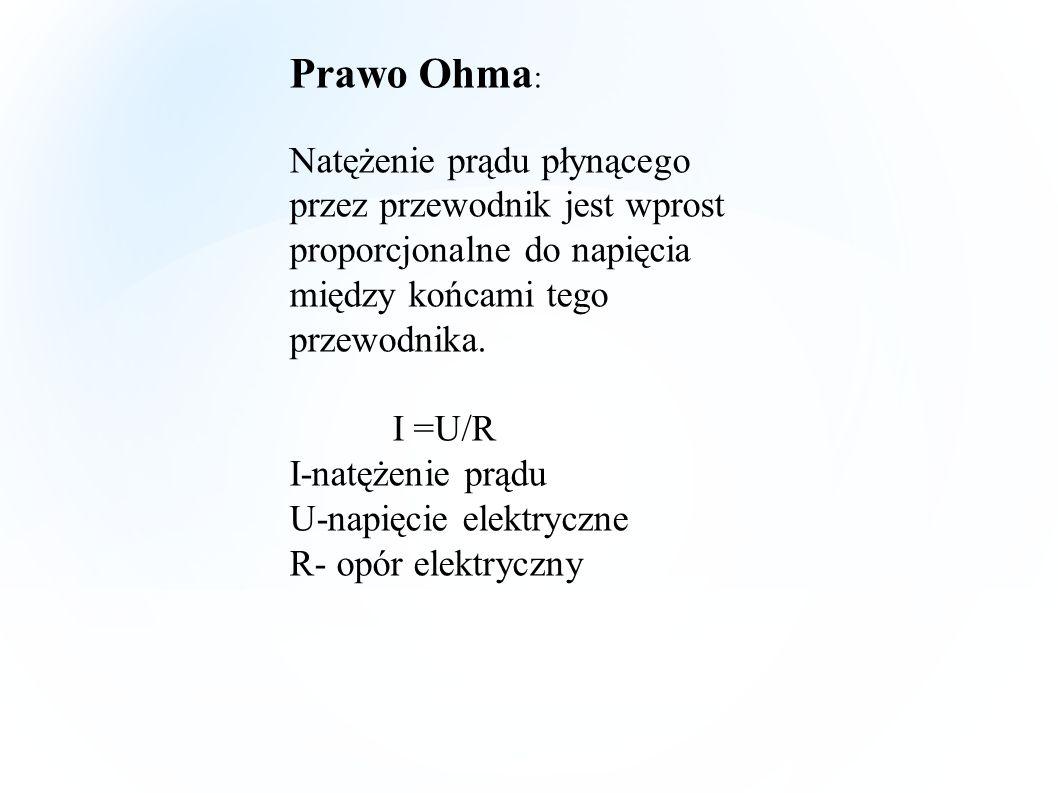 Prawo Ohma: Natężenie prądu płynącego przez przewodnik jest wprost proporcjonalne do napięcia między końcami tego przewodnika.