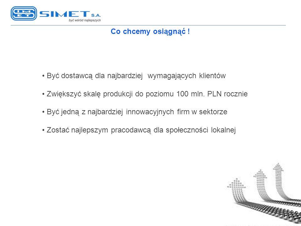 Co chcemy osiągnąć ! Być dostawcą dla najbardziej wymagających klientów. Zwiększyć skalę produkcji do poziomu 100 mln. PLN rocznie.