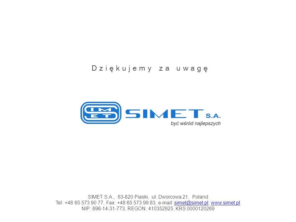 SIMET S.A., 63-820 Piaski, ul. Dworcowa 21, Poland