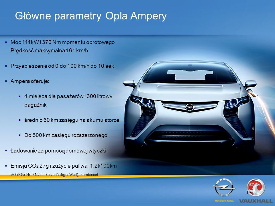 Główne parametry Opla Ampery