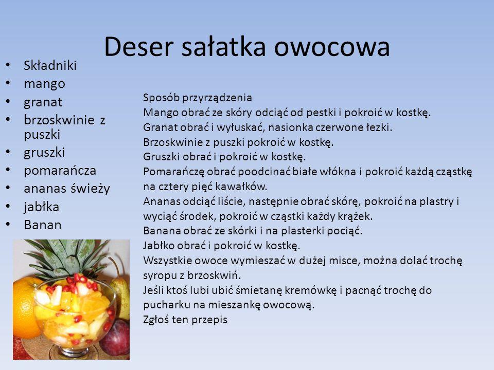 Deser sałatka owocowa Składniki mango granat brzoskwinie z puszki