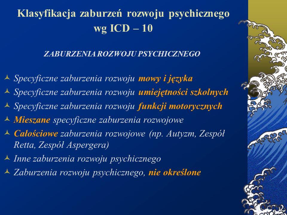 Klasyfikacja zaburzeń rozwoju psychicznego wg ICD – 10