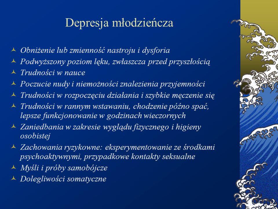 Depresja młodzieńcza Obniżenie lub zmienność nastroju i dysforia