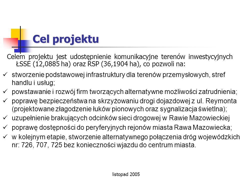 Cel projektu Celem projektu jest udostępnienie komunikacyjne terenów inwestycyjnych ŁSSE (12,0885 ha) oraz RSP (36,1904 ha), co pozwoli na: