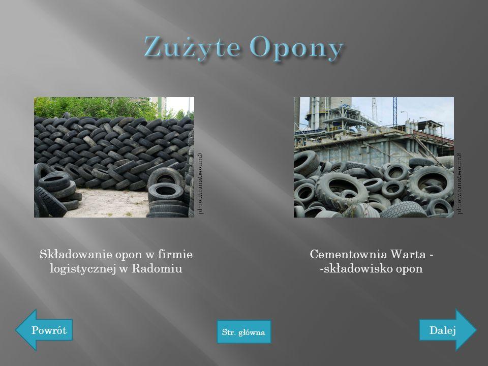 Zużyte Opony Składowanie opon w firmie logistycznej w Radomiu