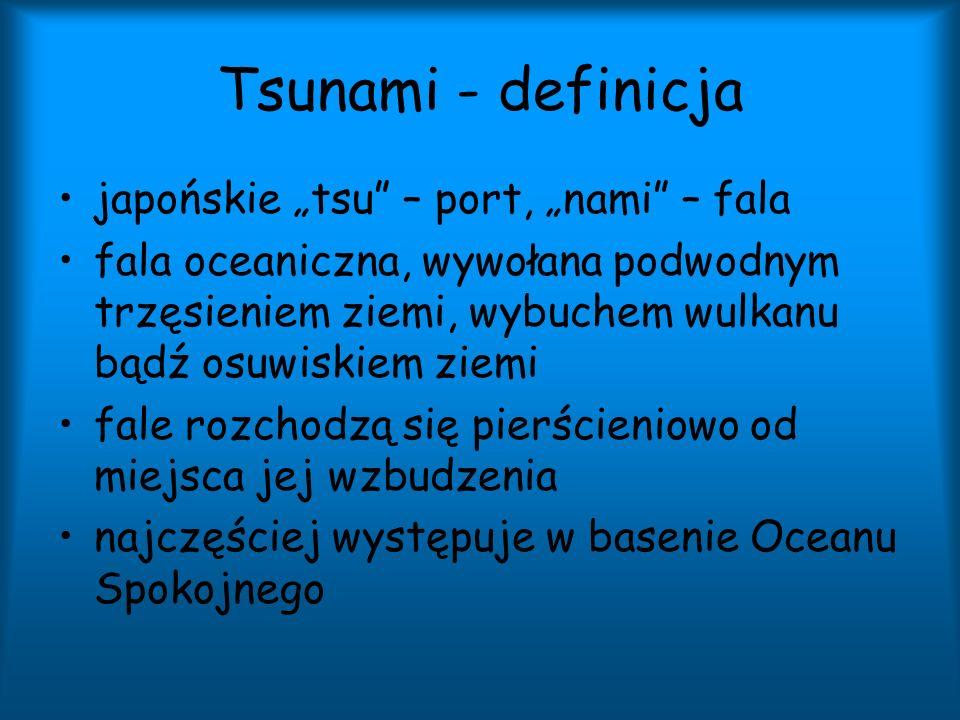 """Tsunami - definicja japońskie """"tsu – port, """"nami – fala"""