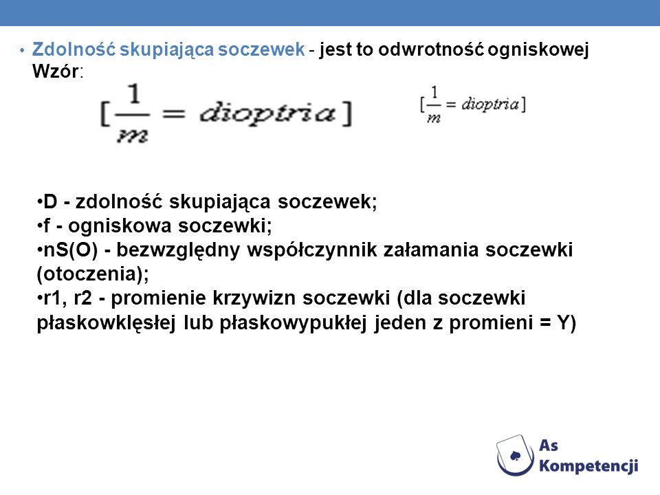 D - zdolność skupiająca soczewek; f - ogniskowa soczewki;