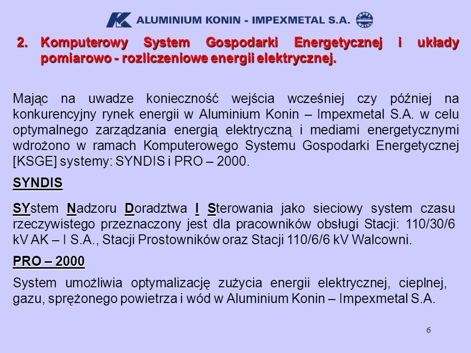 2. Komputerowy System Gospodarki Energetycznej i układy pomiarowo - rozliczeniowe energii elektrycznej.