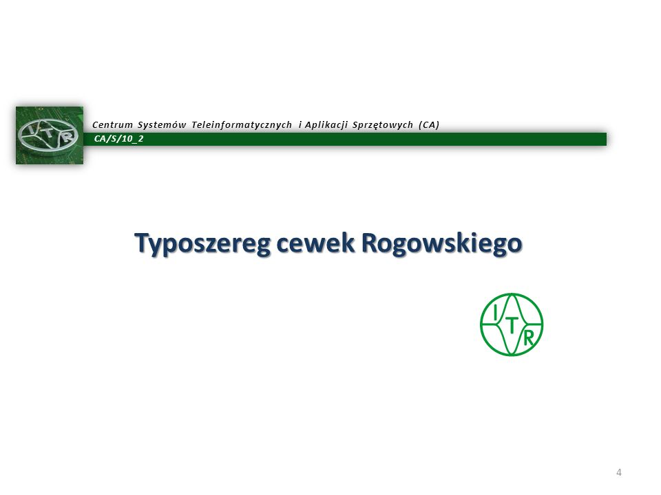 Typoszereg cewek Rogowskiego