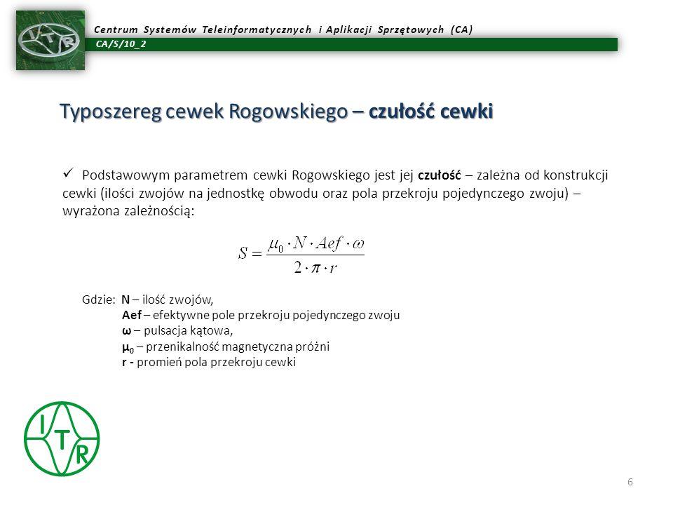 Typoszereg cewek Rogowskiego – czułość cewki