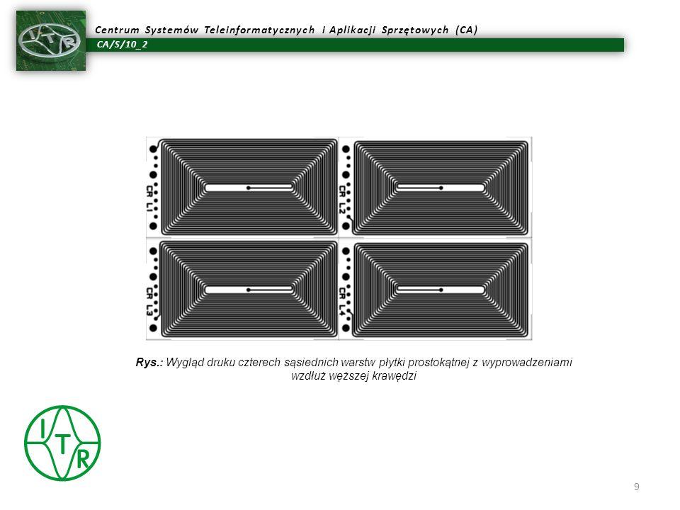 Rys.: Wygląd druku czterech sąsiednich warstw płytki prostokątnej z wyprowadzeniami wzdłuż węższej krawędzi