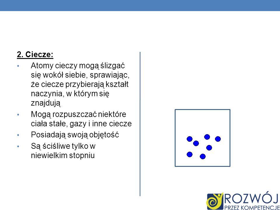 2. Ciecze: Atomy cieczy mogą ślizgać się wokół siebie, sprawiając, że ciecze przybierają kształt naczynia, w którym się znajdują.