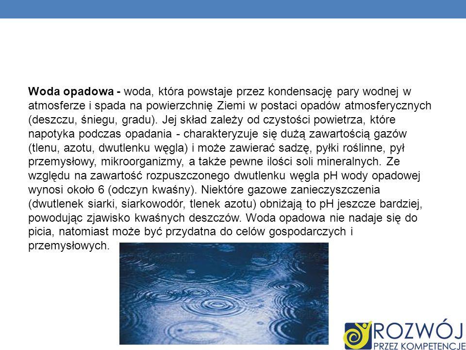 Woda opadowa - woda, która powstaje przez kondensację pary wodnej w atmosferze i spada na powierzchnię Ziemi w postaci opadów atmosferycznych (deszczu, śniegu, gradu).