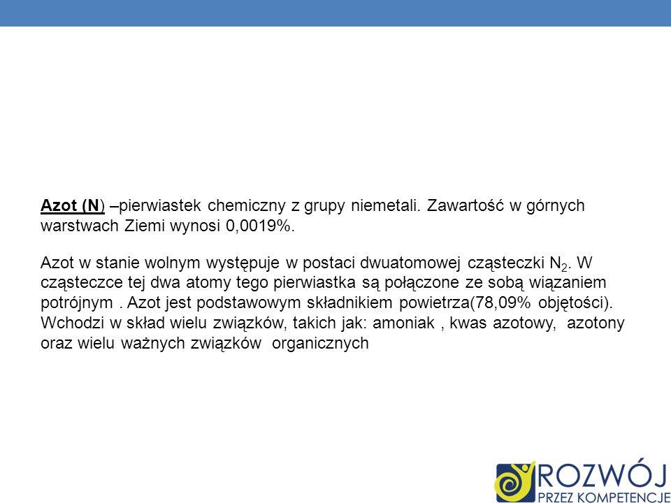 Azot (N) –pierwiastek chemiczny z grupy niemetali