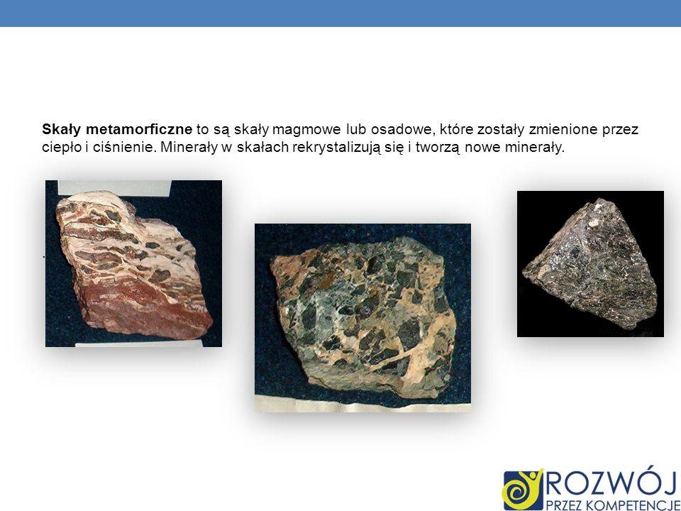 Skały metamorficzne to są skały magmowe lub osadowe, które zostały zmienione przez ciepło i ciśnienie.